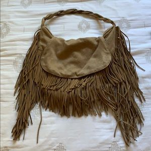 tan suede fringe braided boho bag purse